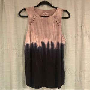L - American Eagle Soft Sexy Navy/Gray Tie-dye Top
